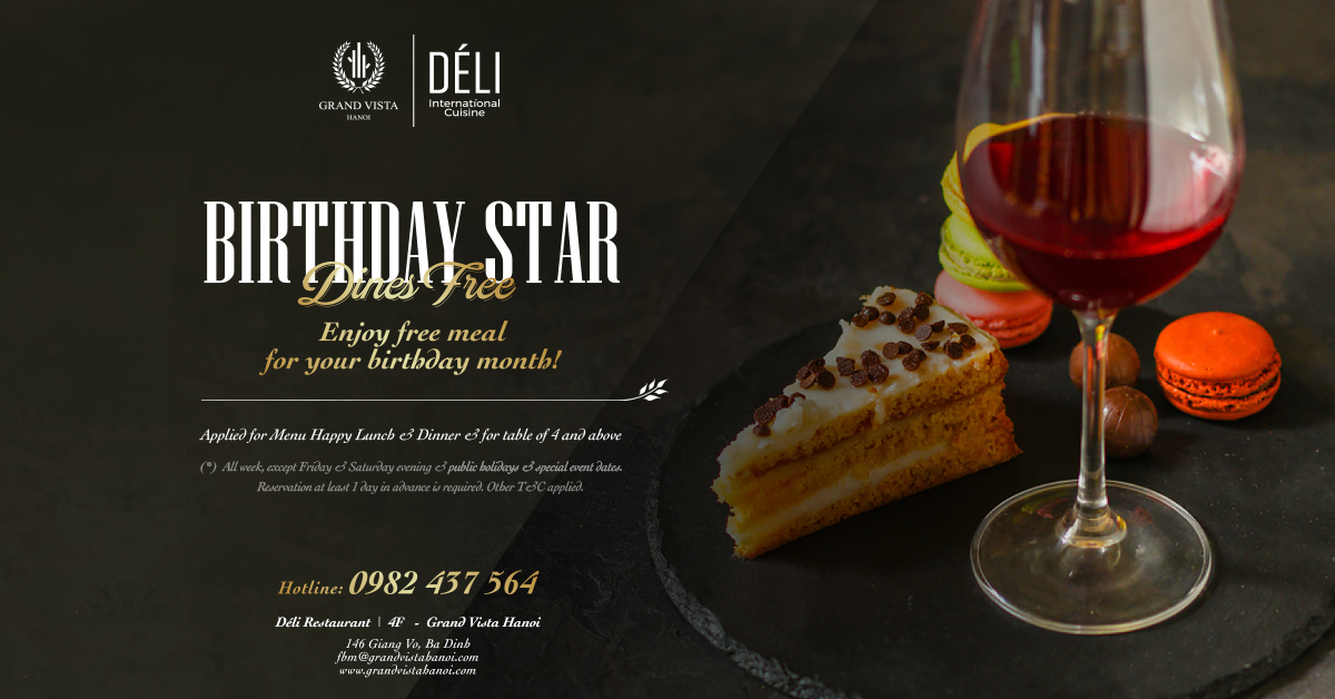 01 FREE Happy Lunch for guest with birthday in the month